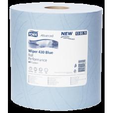 Протирочная бумага повышенной прочности в рулоне Tork Advanced, голубая, 1 000 листов, 2 слоя, размер 340*37 см, W1, арт. 130070