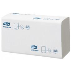 Бумажные листовые полотенца Universal Singlefold сложения ZZ, Tork, 300 листов,1 слой, размер 23*23 см, белый, Н3 (V / ZZ-сложение) (15 шт/упак), арт. 290158
