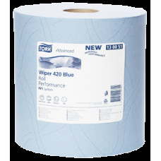 Протирочная бумага в рулоне Tork Плюс Advanced, голубая, 1 500 листов, 2 слоя, размер 510*24 см, W1, арт. 130051