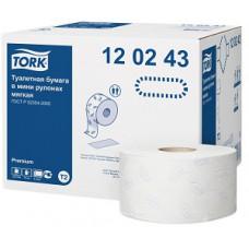 Туалетная бумага в мини рулонах Tork Premium мягкая, 1 214 листов, 2 слоя, размер 170*10 см, белый, Т2 (12 шт/упак), арт. 120243