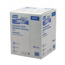 Нетканый материал для интенсивной очистки в малом рулоне со съемной втулкой Tork Premium, 300 листов, 1 слой, размер 38*32 см, белый, W1/W2/W3, арт. 90537