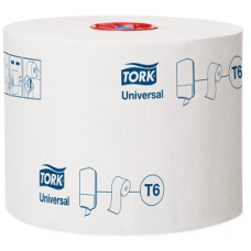 Туалетная бумага Mid-size в миди рулонах Tork Universal, 1 слой, 135*9,9 см, белый, Т6 (27 шт/упак), арт. 127540