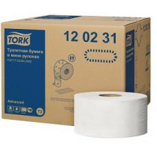 Туалетная бумага в мини рулонах Tork Advanced, 1 214 листов, 2 слоя, размер 170*10 см, белый, Т2 (12 шт/упак), арт. 120231