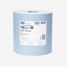 Протирочная бумага в рулоне Tork Плюс Advanced, голубая, 1 500 листов, 2 слоя, размер 510*37 см, W1, арт. 130050