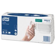 Бумажные листовые полотенца Advanced Singlefold C-сложения, Tork, 120 листов, 2 слоя, размер 24*27,5 см, белый, Н3 (V / ZZ-сложение) (20 шт/упак), арт. 471114