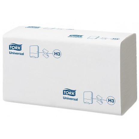 Бумажные листовые полотенца Universal Singlefold сложения ZZ, Tork, 250 листов, 1 слой, размер 23*23 см, белый, Н3 (V / ZZ-сложение) (20 шт/упак), арт. 120108, Tork