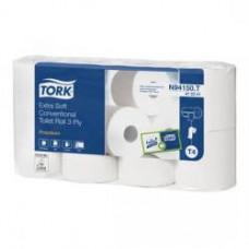 Туалетная бумага в стандартных рулонах Tork Premium, 153 листа, 3 слоя, размер 19*10,2 см, белый, Т4 ультрамягкая (8 шт/упак), арт. 472241