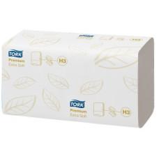 Бумажные листовые полотенца Premium Singlefold сложения ZZ Tork, ультрамягкие, 200 листов, 2 слоя, размер 23*23 см, белый, Н3 (V / ZZ-сложение) (15 шт/упак), арт. 100278