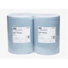 Протирочная бумага базовая Tork Universal в рулоне, голубая, 1 000 листов, 2 слоя, размер 340*36,9 см, W1 (2 шт/упак), арт. 128408