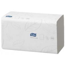 Бумажные листовые полотенца Advanced Singlefold сложения ZZ, Tork 250 листов, 2 слоя, размер 23*25 см, белый, Н3 (V / ZZ-сложение) (15 шт/упак), арт. 290163