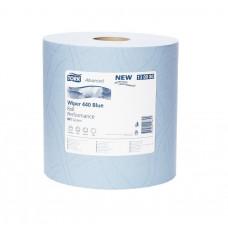 Протирочная бумага суперпрочная в рулонеTork Advanced, голубая, 750 листов, 3 слоя, размер 255*37 см, W1, арт. 130080
