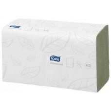 Бумажные листовые полотенца Advanced Singlefold сложения ZZ, Tork, 250 листов, 2 слоя, размер 23*25 см, зеленый, Н3 (V / ZZ-сложение) (15 шт/упак), арт. 290179