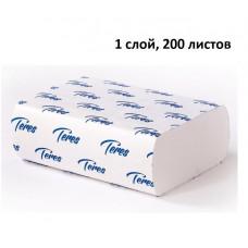 Полотенца листовые Терес Стандарт, Z-сложение, белые, 1 слой, 21 * 22 см, 200 листов/пачка (15 шт/упак), арт. Т-0246
