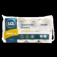 Туалетная бумага в рулонах LIME 3-слоя, 16 м, белая, 8 рул/уп, арт. 301608-Ц