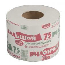 Бумага туалетная бытовая 75 м, на втулке (эконом), 'Рулончик большой'