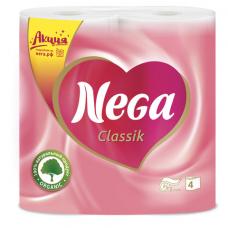 Бумага туалетная бытовая, спайка 4 шт., 2-х слойная (4х17,5 м), NEGA Classic ('Нега'), белая