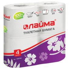 Бумага туалетная бытовая, спайка 4 шт., 3-х слойная (4х18 м), ЛАЙМА, белая, 128724