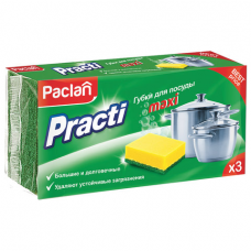 Губки бытовые для мытья посуды, КОМПЛЕКТ 3 шт., чистящий слой (абразив), PACLAN 'Practi Maxi', 409121