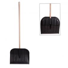 Лопата снегоуборочная пластиковая, 46х40 см, высота 130 см, с алюминиевым наконечником, деревянный черенок, 603556
