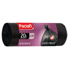 Мешки для мусора 20 л, черные, в рулоне 40 шт., ПНД, 7,3 мкм, 45х55 см, PACLAN 'Standard', 402120