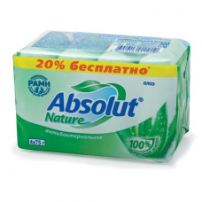 Мыло туалетное антибактериальное 300 г ABSOLUT (Абсолют) КОМПЛЕКТ 4 шт. х 75 г 'Алоэ',без триклозана, 6065