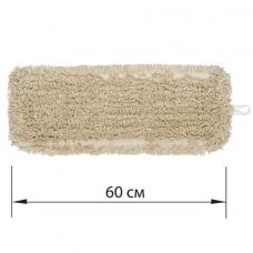 Насадка МОП плоская 60 см для швабры-рамки, карманы, нашивной хлопок, ЛАЙМА 'EXPERT', 605305