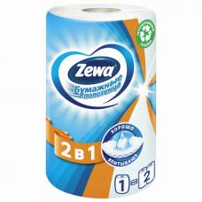Полотенце бумажное бытовое, 2-х слойное, 30 м, ZEWA 2 в 1, белое, 144111