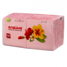 Салфетки бумажные, 250 шт., 24х24 см, ЛАЙМА, красные (пастель), 100% целлюлоза, 111950