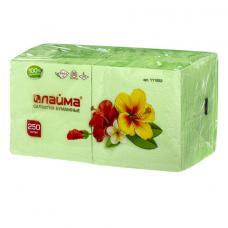 Салфетки бумажные, 250 шт., 24х24 см, ЛАЙМА, зеленые (пастель), 100% целлюлоза, 111952