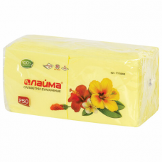 Салфетки бумажные, 250 шт., 24х24 см, ЛАЙМА, желтые (пастель), 100% целлюлоза, 111948