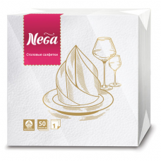 Салфетки бумажные, 50 шт., 24х24 см, 2-х слойные, 'NEGA' ('Нега'), белые, 100% целлюлоза