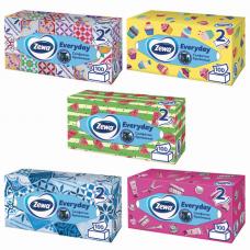 Салфетки косметические, 100 шт., ZEWA 'Everyday', 2-х слойные, в картонном боксе, белые, 24516, 6286