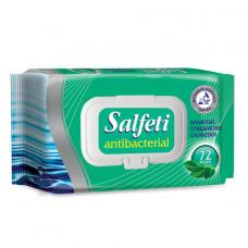 Салфетки влажные, 72 шт., SALFETI 'Antibacterial', антибактериальные, крышка-клапан, 48397