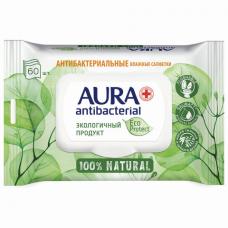 Салфетки влажные антибактериальные 60 шт., AURA Antibacterial 'ECO Protect', клапан крышка, 10509