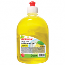 Средство для мытья посуды 500 мл, ЛЮБАША 'Лимон', пуш-пул, 604778