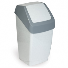 Ведро-контейнер 15 л, с крышкой (качающейся), для мусора, 'Хапс', 46х26х25 см, серое, IDEA, М 2471