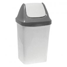 Ведро-контейнер 15 л, с крышкой (качающейся), для мусора,'Свинг', 47х27х23 см, серое, IDEA, М 2462
