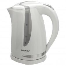 Чайник SONNEN KT-1743, 1,7 л, 2200 Вт, закрытый нагревательный элемент, пластик, белый, 453414
