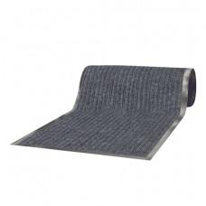 Коврик-дорожка ворсовый влаго-грязезащитный ЛАЙМА, 120х1500 см, ребристый, толщина 7 мм, серый, 602881