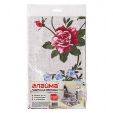 """Полотенце рогожка набивное, 47х60 см, плотность 180 (±10) г/м2, """"Крупные цветы"""", европодвес, ЛАЙМА, 604768"""