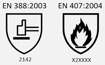 EN 388:2003 / 2142. EN 407:2004 / X2XXXX.