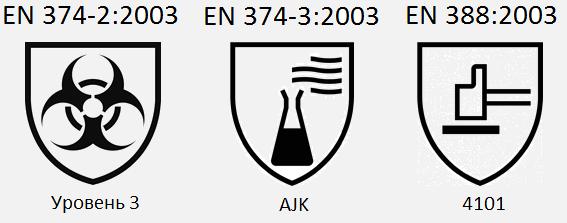EN 374-2:2003 / Уровень 3. EN 374-3:2003 / AJK. EN 388:2003 / 4101.